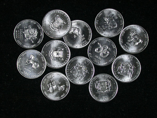 Somalia Set of 12 Lunar Coins