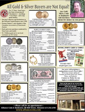 Gold and silver buying details from Alliance Coin & Banknote